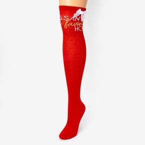 Santa's Favorite Ho Over the Knee Socks - Red,