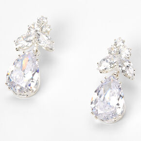 Silver Cubic Zirconia Leaf Cluster Teardrop Drop Earrings,
