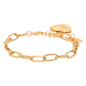 Gold Locket Charm Bracelet,