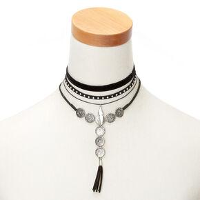 Silver Medallion Choker Necklaces - Black, 4 Pack,