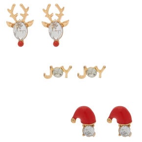 Gold Crystal Christmas Stud Earrings - 3 Pack,