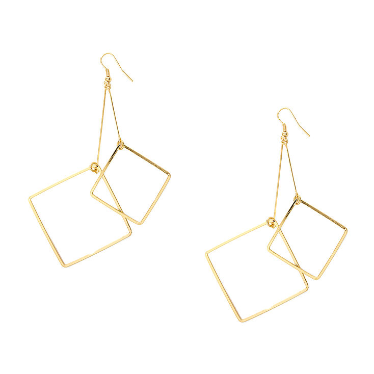 Gold Double Diamond Outline Drop Earrings,