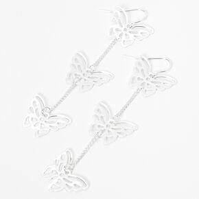 """Silver 3"""" Triple Butterfly Linear Drop Earrings,"""