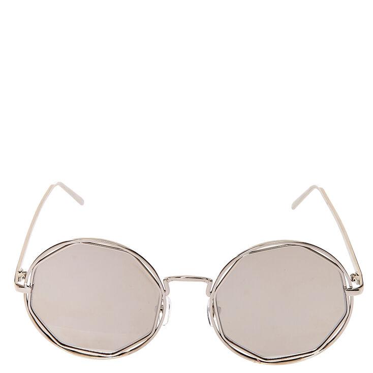 Round Silver Mirror Sunglasses,