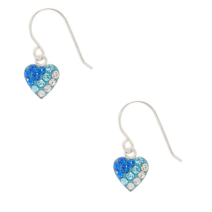 Sterling Silver Blue Ombre Heart Drop Earrings,