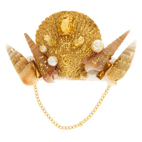 Gold Glitter Mermaid Shell Hair Barrette,