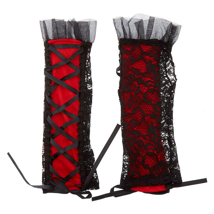 Black & Red Lace Arm Warmers,