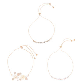 Rose Gold Rhinestone & Pearl Floral Statement Bracelets - Blush, 3 Pack,