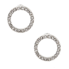 Silver Embellished Circle Stud Earrings,