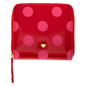 Red & Pink Polka Dot Mini Zip Wallet,