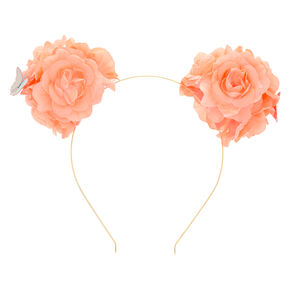 Flower Bear Ears Headband - Coral,