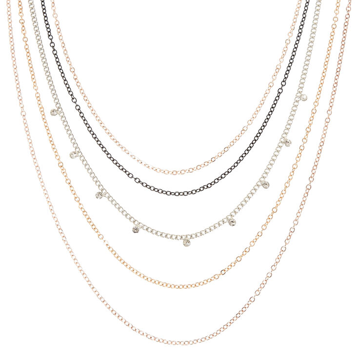 5-Layer Mixed Metal Statement Necklace,