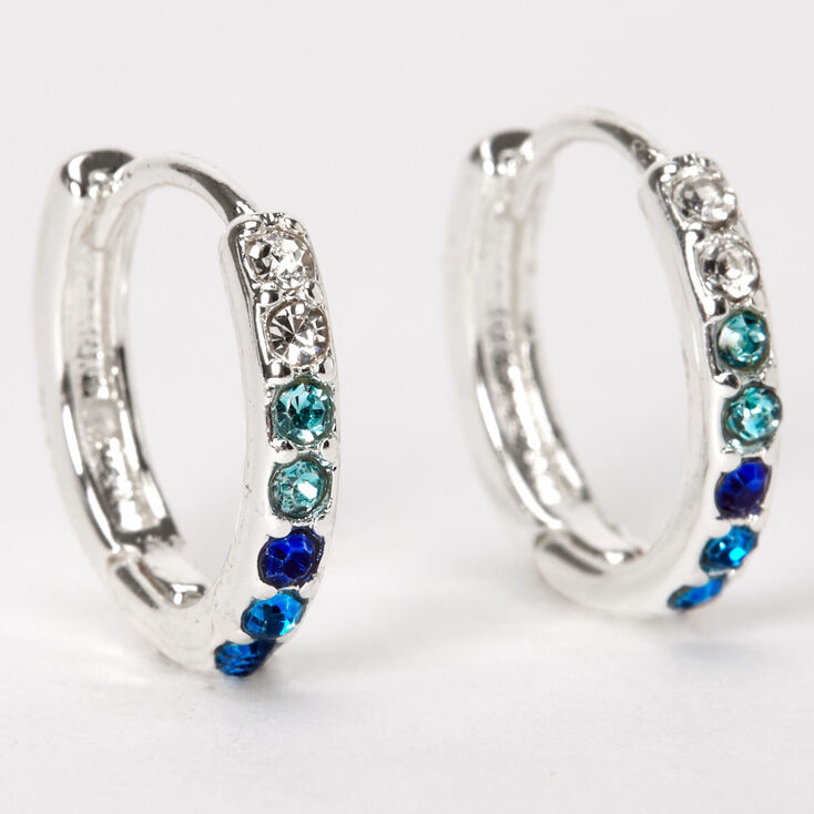 Silver 10MM Embellished Huggie Hoop Earrings - Blue,