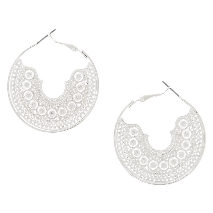 40MM Silver Filigree Hoop Earrings,