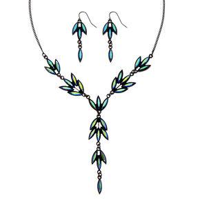 Black Framed Marquis Aquamarine Gem Cluster Jewelry Set,