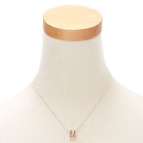 Rose Gold Cursive Initial Pendant Necklace - U,