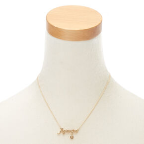 Gold Zodiac Pendant Necklace - Aquarius,