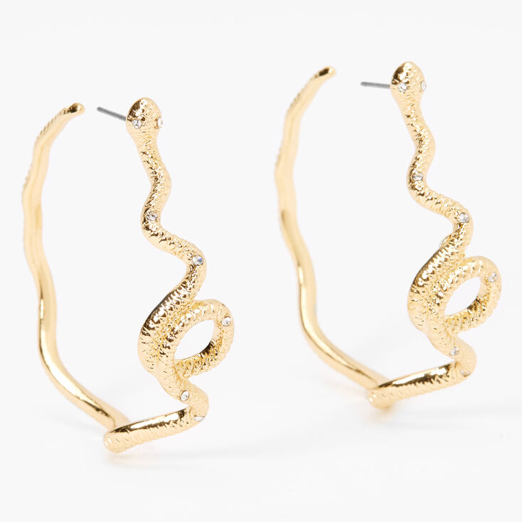 Gold 50MM Snake Hoop Earrings,