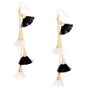 Black & White Tassel Drop Earrings,