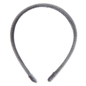 Double Row Ribbed Velvet Headband - Gray,