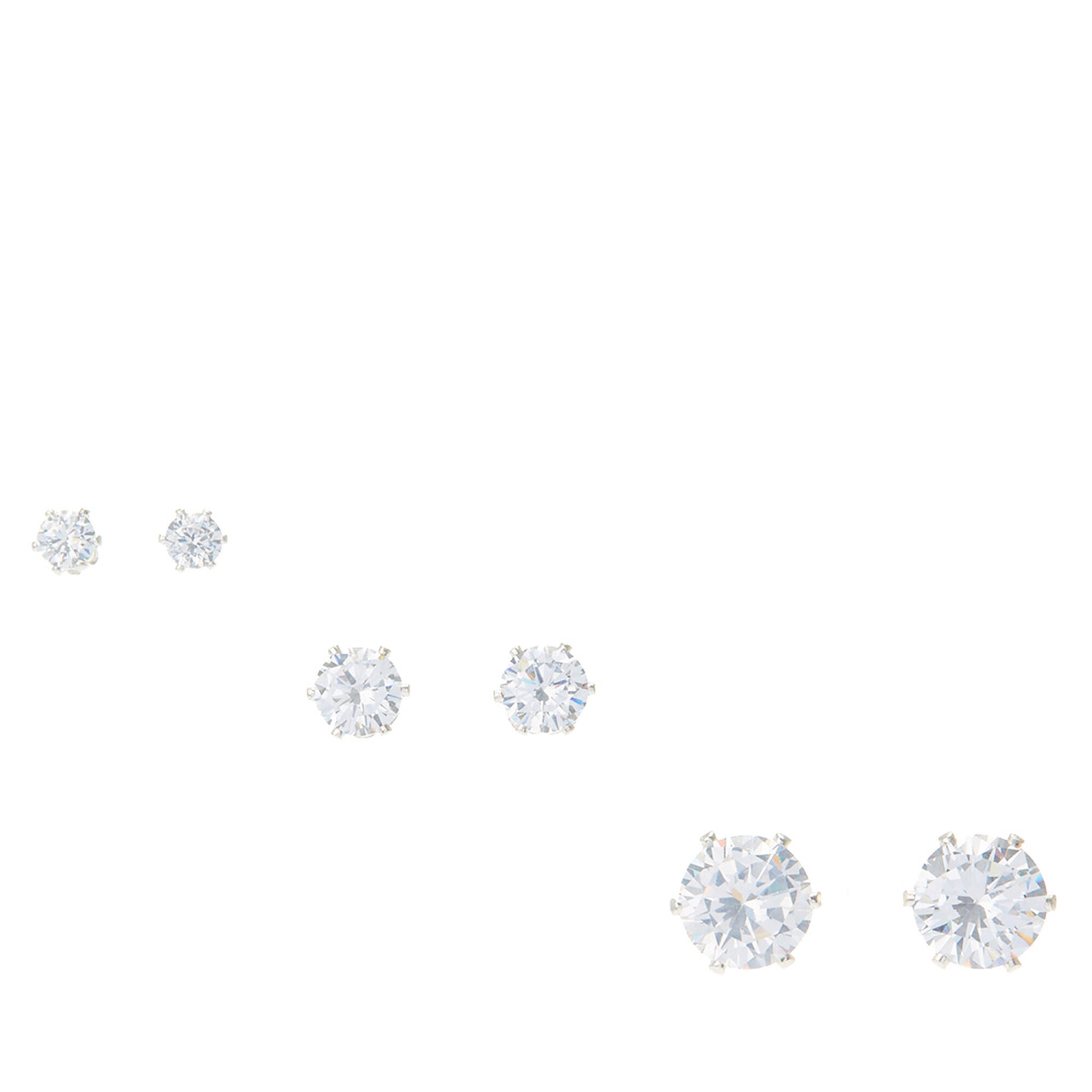 4mm 6mm 9mm cubic zirconia stud earrings set of 3 icing us