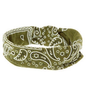 Olive Green Paisley Bandana Knotted Jersey Headwrap,