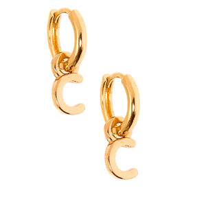 Gold 10MM Initial Huggie Hoop Earrings - C,