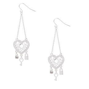"""Silver 2.5"""" Heart Dreamcatcher Drop Earrings,"""