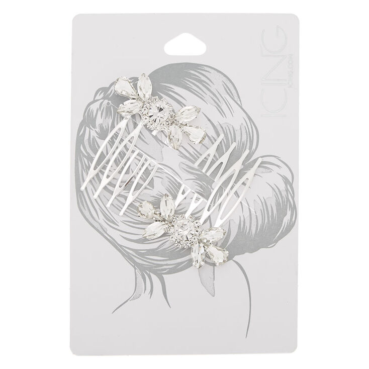 Silver Rhinestone Hair Combs - 2 Pack,