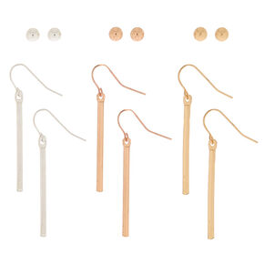 Mixed Metal Stud & Drop Earrings - 6 Pack,