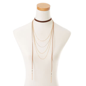 Suede Chain Choker Necklace,