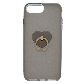 Glitter Heart Ring Stand Phone Case - Gray,