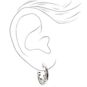 Silver 25MM Star Cluster Hoop Earrings,