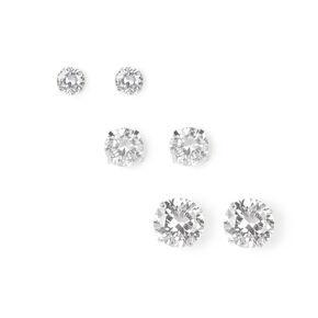 5MM, 7MM, 9MM Martini Set Cubic Zirconia Stud Earrings,