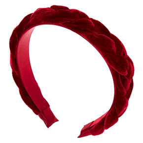 Suede Braided Headband - Burgundy,