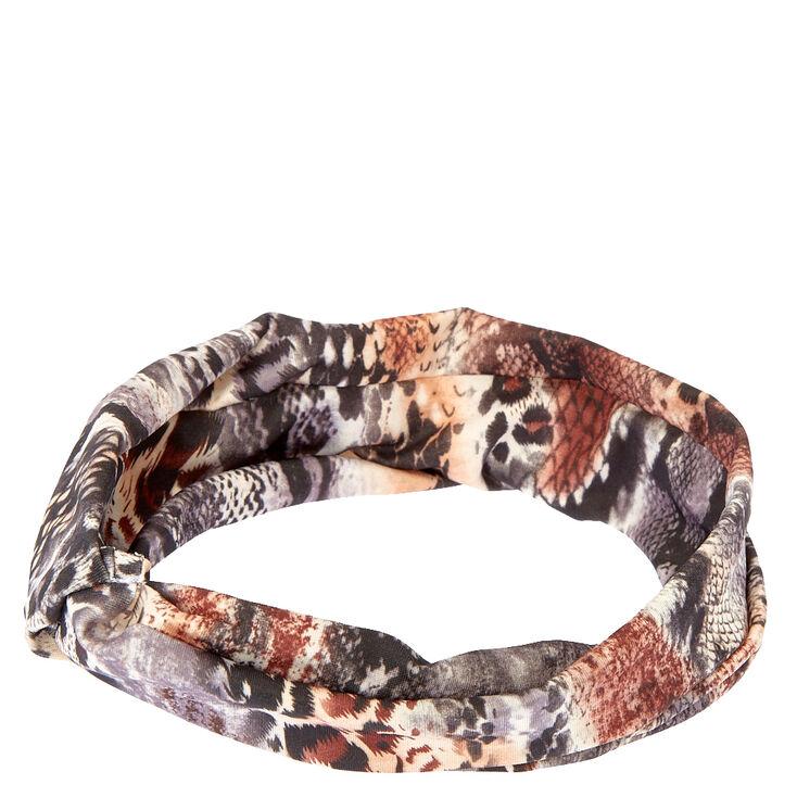 Mixed Animal Print Twist-Front Headwrap,