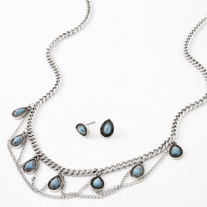 Silver Burnished Stone Teardrop Jewelry Set - Turquoise, 2 Pack,