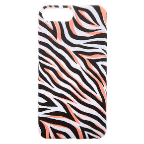 Neon Coral Zebra Phone Case - Fits iPhone 6/7/8 Plus,