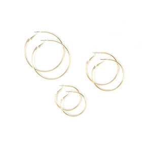 3 Pack Graduated Gold Hoop Earrings,