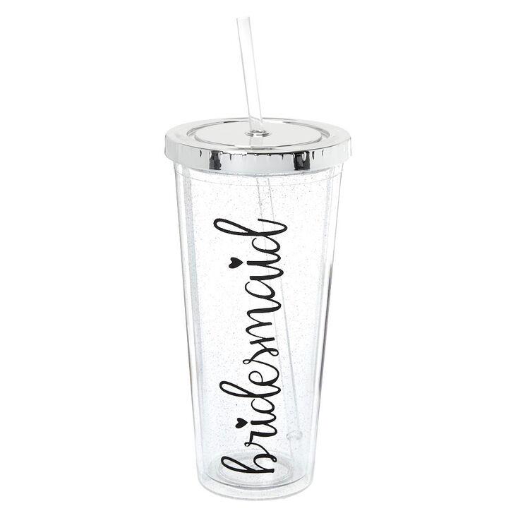 Glitter Bridesmaid Tumbler Cup - Silver,