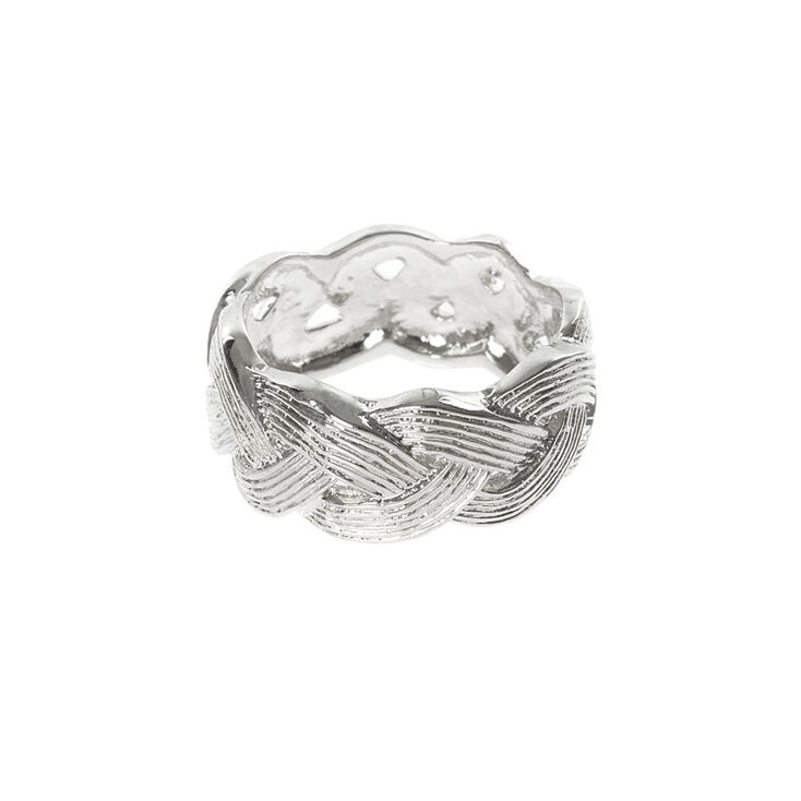 Textured Silver Basket Weave Band Ring,
