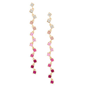 "Silver Glass Rhinestone 4"" Zig Zag Drop Earrings - Pink,"