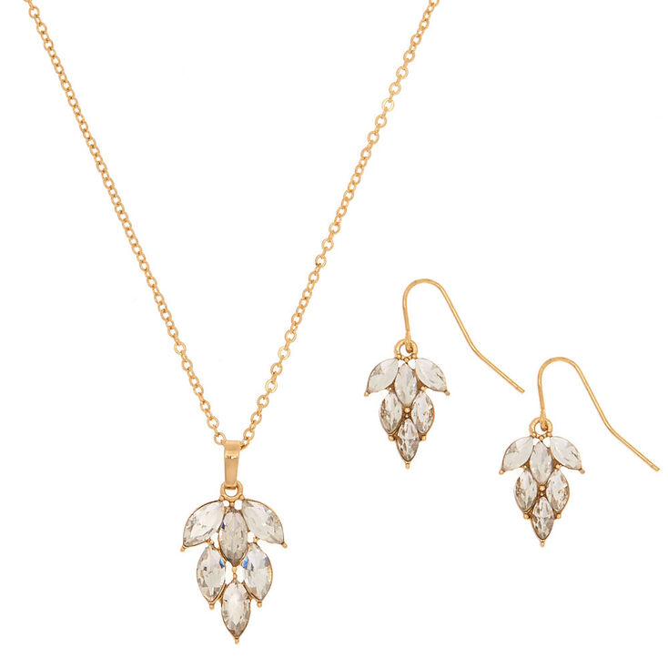 Gold Glass Rhinestone Leaf Jewelry Set - 2 Pack,