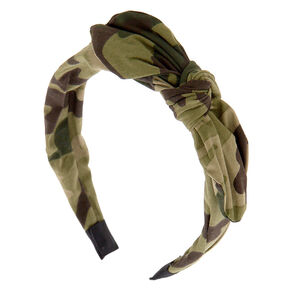 Camo Knotted Bow Headband - Green,