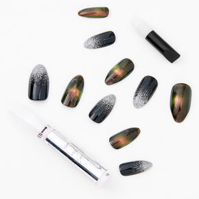 Fall Glitter Ombre Stiletto Faux Nail Set - Black, 24 Pack,