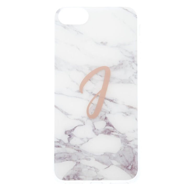 """White Marbled """"J"""" Initial Phone Case - Fits iPhone 6/7/8 Plus,"""