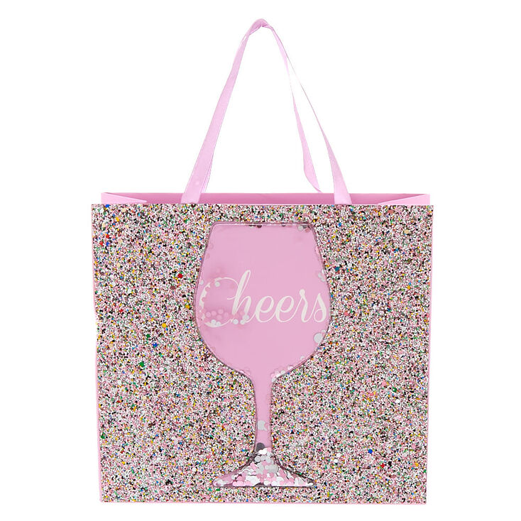 Medium Cheers Shaker Glitter Gift Bag - Pink,