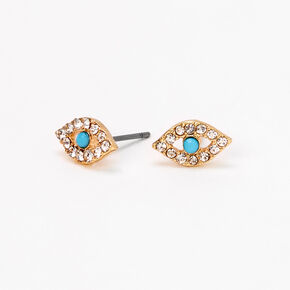 Gold Embellished Evil Eye Stud Earrings - Turquoise,
