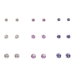 Clear, Pink, & Purple Graduated Crystal Stud Earrings,