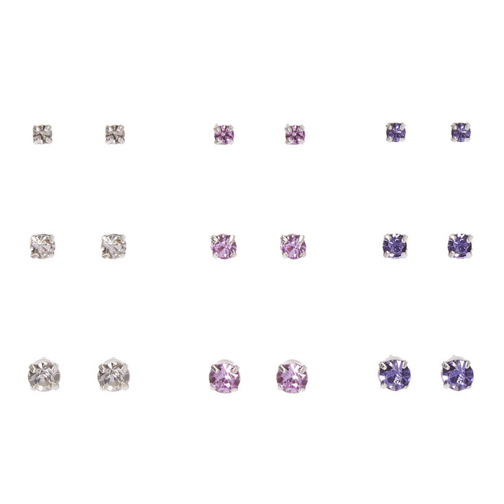 Clear, Pink, & Purple Graduated Crystal Stud Earrings,